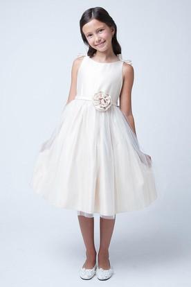Bowed Sleeveless Tulle&Satin Flower Girl Dress