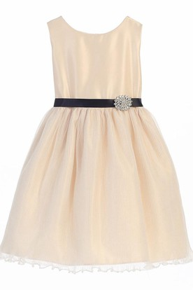 Knee-Length Broach Tiered Pleated Organza&Satin Flower Girl Dress With Sash