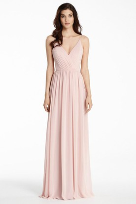 Spaghetti Chiffon Bridesmaid Dress With Ruching