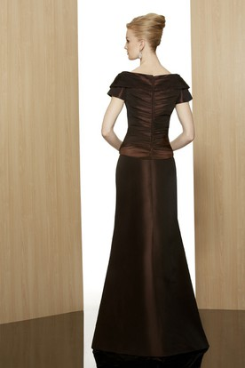 A-Line Broach Short-Sleeve V-Neck Floor-Length Satin Formal Dress With Zipper Back