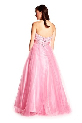 A-Line Sleeveless Sequined Sweetheart Floor-Length Tulle&Satin Prom Dress With Bow