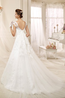 Cap sleeve A-line Wedding Dress with Illusive Design and Low-V Back