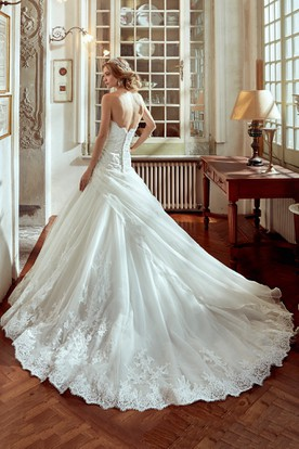 Sweetheart A-line Wedding Dress with Side Draping and Embroidery