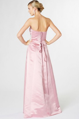 Floor-Length Strapless Draped Satin Bridesmaid Dress With Corset Back