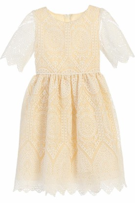 Tea-Length Lace Flower Girl Dress With Cathedral Train