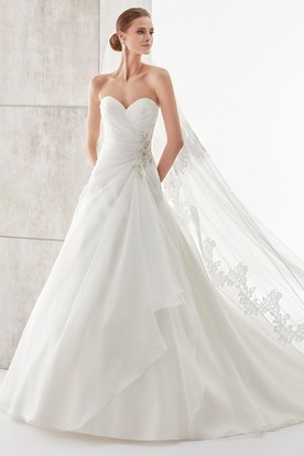 Sweetheart Side-Draping A-Line Wedding Dress With Side Beadings And Pleated Bodice