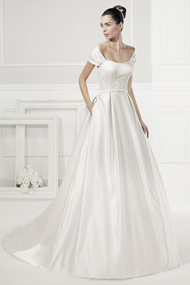 Unique Off-Shoulder Taffeta Bridal Gown With Belt