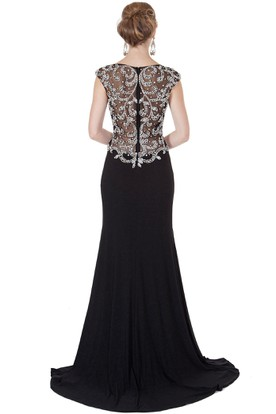Scoop Neck Cap Sleeve Beaded Chiffon Evening Dress With Brush Train