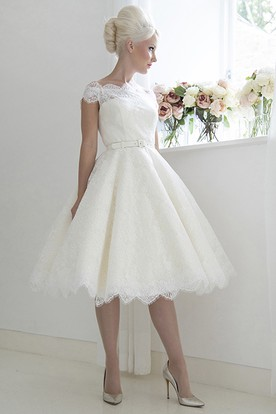 A-Line Tea-Length Ribboned Cap Sleeve Bateau Neck Lace Wedding Dress