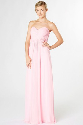 Long Sweetheart Empire Criss-Cross Chiffon Bridesmaid Dress With Flower And Corset Back