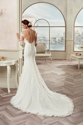 Sweetheart Sheath Bridal Gown With Long Sleeves And Detachable Train