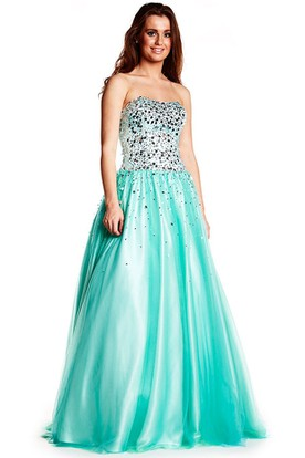 A-Line Sleeveless Beaded Strapless Floor-Length Tulle&Satin Prom Dress With Bow