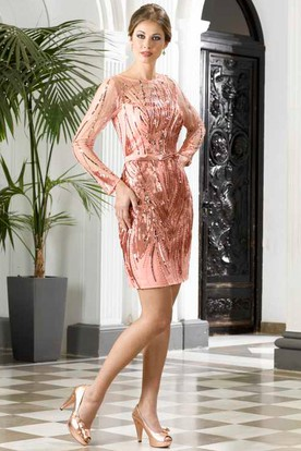 Pencil Short Mini Bateau Long Sleeve Sequins Low-V Back Dress