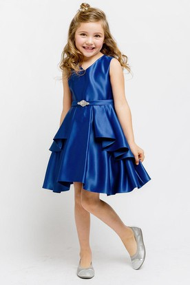 Split Knee-Length Split-Front Beaded Satin Flower Girl Dress With Sash