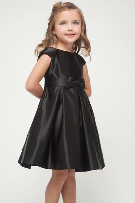Knee-Length Cap-Sleeve Bowed Satin Flower Girl Dress