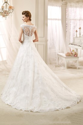 Cap sleeve A-line Lace Wedding Gown with Appliques and Jewel Neckline