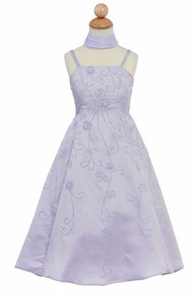 Ankle-Length Floral Floral Beaded Sequins&Satin Flower Girl Dress With Straps