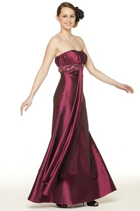 Beaded Strapless Satin Bridesmaid Dress With Ruching