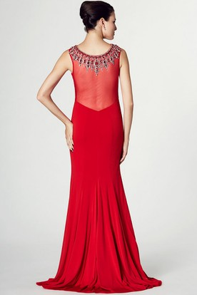 Sleeveless Beaded Bateau Neck Jersey Prom Dress With Brush Train