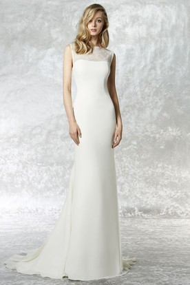 High Neck Maxi Lace Jersey Wedding Dress With Sweep Train And Illusion