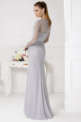 Sheath Beaded Jewel Neck Illusion Sleeve Chiffon Prom Dress