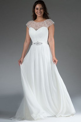 Pearled Cap Sleeve A-Line Bridal Gown With Back Crystal Bowknot And Keyhole