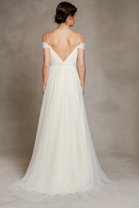 A-Line Jeweled Floor-Length Spaghetti Tulle Wedding Dress With Pleats