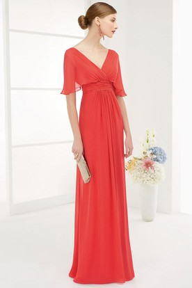 V Neck V Back Empire A-Line Chiffon Long Prom Dress With Wrap Sleeves