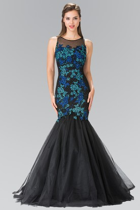 Mermaid Long Scoop-Neck Tulle Satin Keyhole Dress With Appliques And Beading