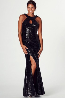 Floor-Length High Neck Split-Front Sleeveless Sequin Prom Dress