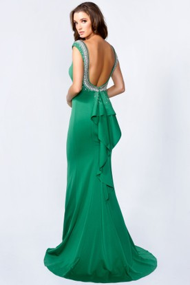 Sheath Bateau Cap-Sleeve Jersey Backless Dress With Beading And Draping
