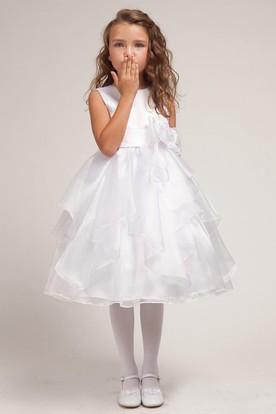 Tea-Length Bowed Split-Front Organza&Satin Flower Girl Dress