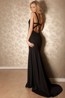 Sheath Sleeveless Floor-Length One-Shoulder Jersey Prom Dress With Straps And Sweep Train
