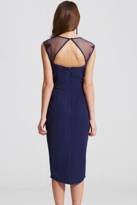 High-Low Pencil Cap Sleeve Appliqued Bateau Neck Chiffon Bridesmaid Dress