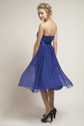 Tea-Length Ruched Strapless Empire Chiffon Bridesmaid Dress With Sash