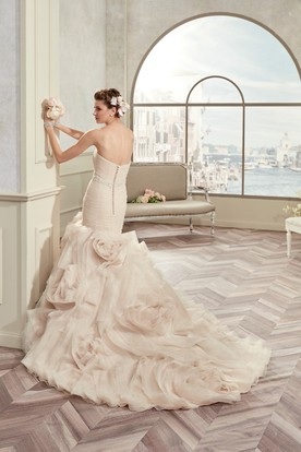 Sweetheart Pleated Bridal Gown With Floral Ruffles And Beaded Belt
