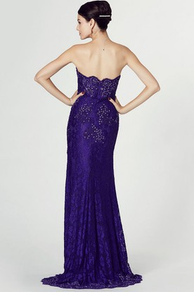 Strapless Beaded Lace Prom Dress With Appliques And Split Front