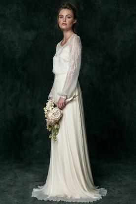 V-Neck Long Puff-Sleeve Appliqued Chiffon Wedding Dress
