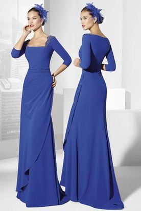 Sheath Square-Neck Floor-Length Half-Sleeve Side-Draped Jersey Prom Dress