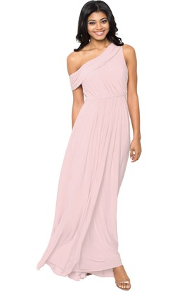 Ruched One-Shoulder Chiffon Muti-Color Convertible Bridesmaid Dress
