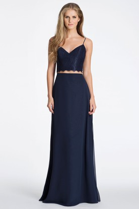 Sleeveless Spaghetti Appliqued Chiffon Bridesmaid Dress With Low-V Back