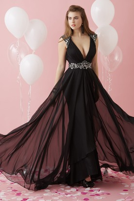 A-Line V-Neck Cap-Sleeve Chiffon Keyhole Dress With Beading And Waist Jewellery