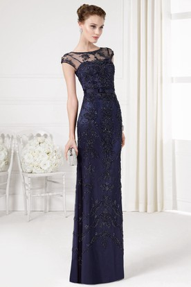 Sheath Beaded Bateau Neck Cap Sleeve Tulle Prom Dress