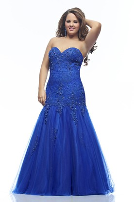 Mermaid Floor-length Sweetheart Sleeveless Lace Appliques Backless Dress