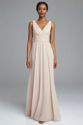 Sleeveless Ruched V-Neck Chiffon Bridesmaid Dress