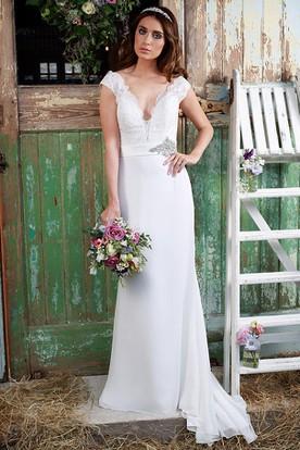 Sheath Floor-Length Jeweled V-Neck Cap-Sleeve Satin&Chiffon Wedding Dress With Lace