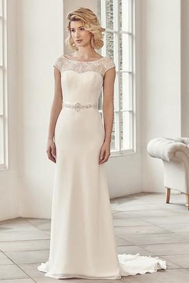 Bateau Long Bowed Appliqued Chiffon Wedding Dress With Sweep Train And V Back