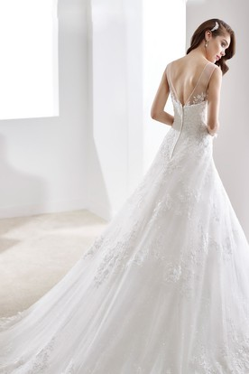 A-Line Brush-Train Lace Gown With Illusive Neckline And V Back