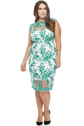 Knee-Length Cap Sleeve Appliqued Jewel Neck Tulle Cocktail Dress