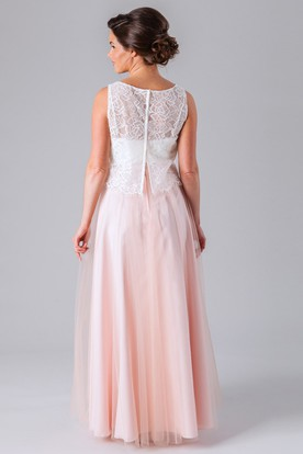 Sleeveless Lace Scoop Neck Tulle Bridesmaid Dress